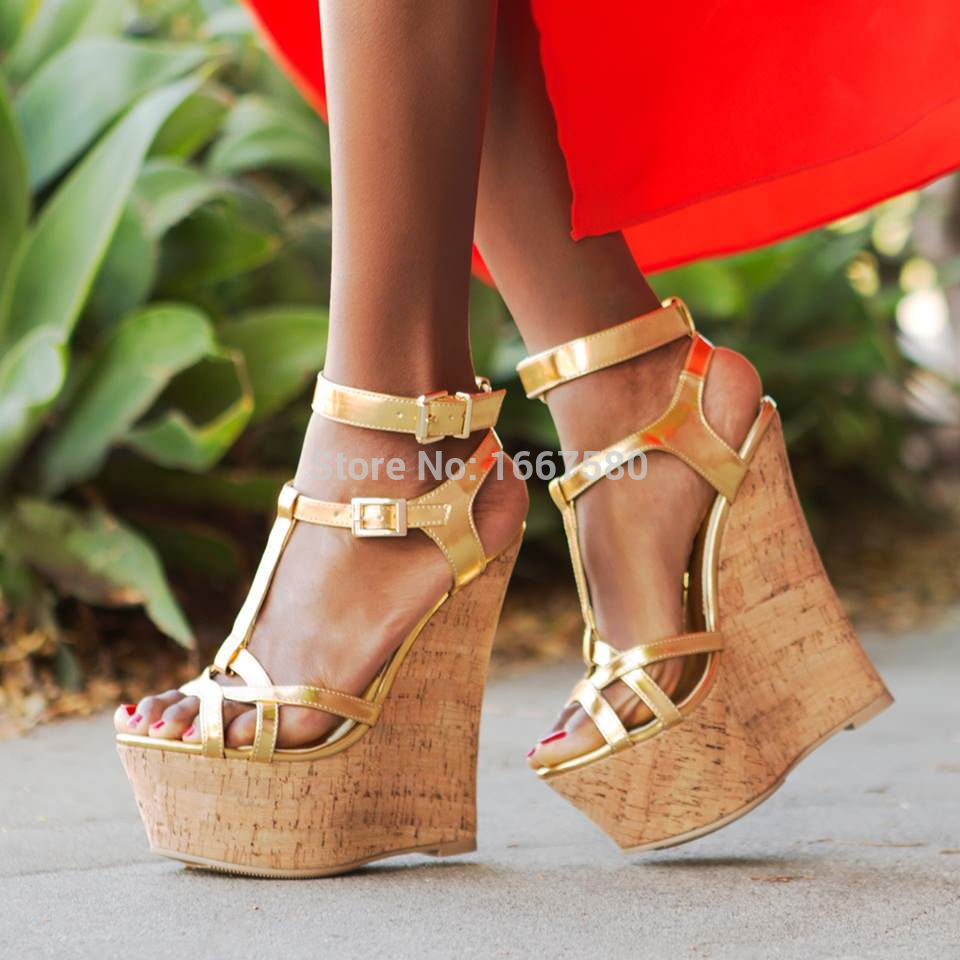 shoesofdream s summer ankle sandals gold wedge