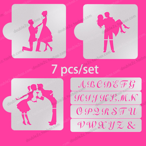 Wedding Cake Stencil Alphabet Set 7pcs Wedding Cake Decorating
