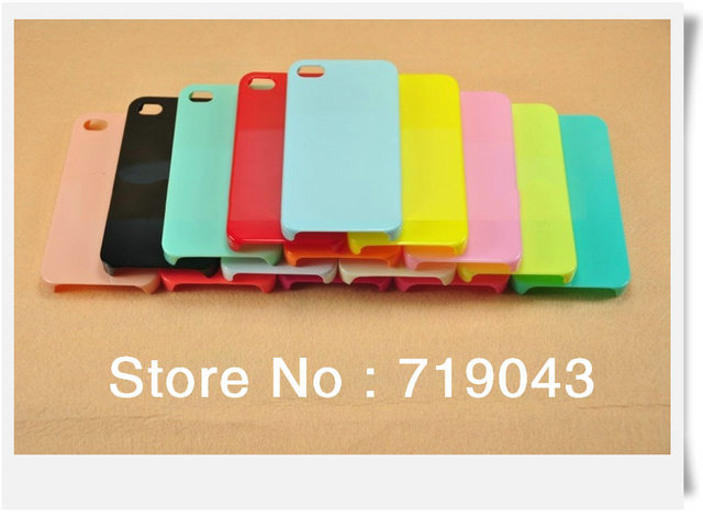 500PCS/Lot Colorful Plain Hard Back cell Case Cover for apple iPhone 4 4S - DIY Decoration,  free shipping