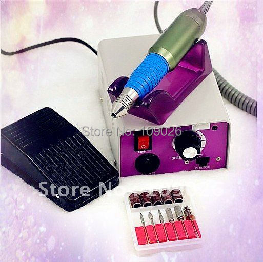 Nail Art Tips Electric Manicure Toenail Drill File Grinder Grooming Kit Nail Tool with Foot Pedal +  6 Bits