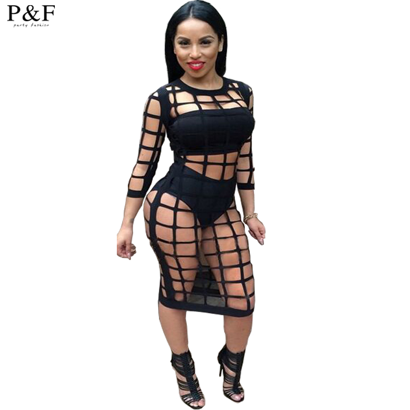 2016 Summer dress Style hollow out Sexy Ladies Bandage Hollow Out Outfit Party Mesh Women Bodycon club Dress Vestidos De Festa(China (Mainland))