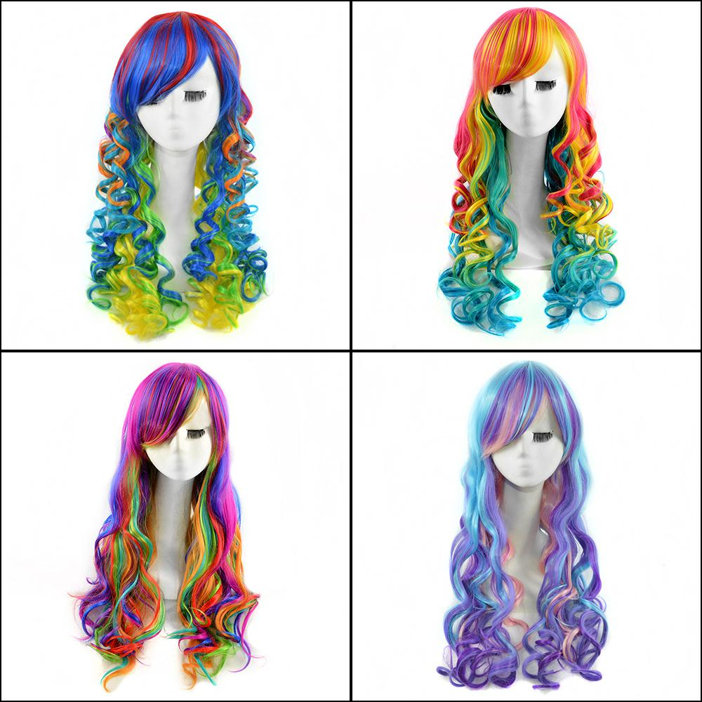 4 Colors 65cm Mixed Color Long Wavy Women Cheap Heat Resistant Harajuku Adjustable Synthetic Wigs Lolita Colored Wavy Wig<br><br>Aliexpress