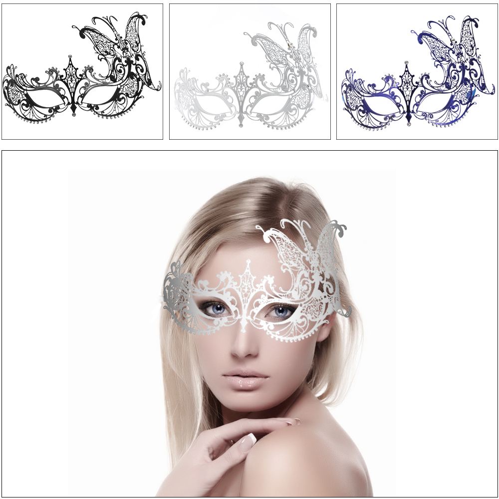 FESTNIGHT Cosplay Metal Half Mask with Rhinestones Butterfly Mask Masquerade Ball Halloween Mask Party Decoration 3 colors(China (Mainland))