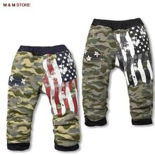 2015 new autumn boys pants clothing kids clothes girls camouflage leisure flag Terry children leisure trousers