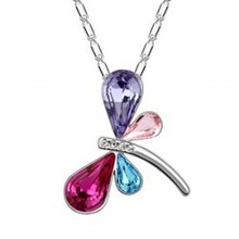 WESTERN POPULAR JEWLERY STYLE ENDAERING LIKABLE IMITATION PLATINUM PLATED DRANGONFLY NECKLACE AS PARTY GIFT B130