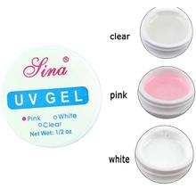 15ml Hight Quality Nail Art Primer Base UV Gel Top Coat Builder Tips Decor 3 Color Clear White Pink