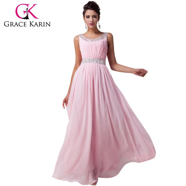 Грейс карин красивые длинные розовый платья невесты шифон длиной до пола , торжества ...