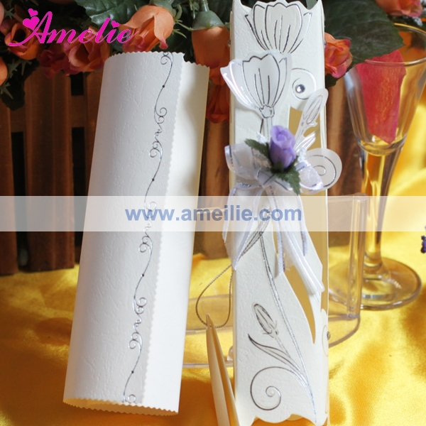 50piecelot with flower ribbon wedding invitations cheap scroll 50piecelot with flower ribbon wedding invitations cheap scroll wedding invitation card with free shipping filmwisefo