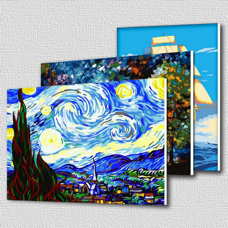2015 New DIY Coloring by Numbers Digital Oil Painting With frame Wall Art Canvas Pattern Home Decor Tulip Flowers 5052 40*50 cm