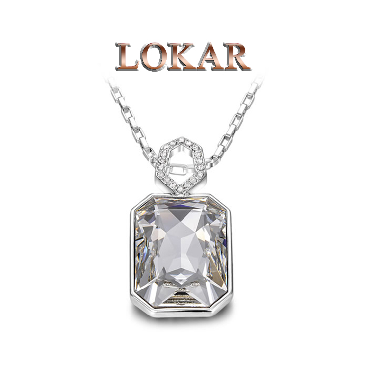 LOKAR Gift Genuine Gold Plated Austrian Crystals Fashion Chain platinum Necklace Multi-Literal Pendant Big OFF For Party(China (Mainland))