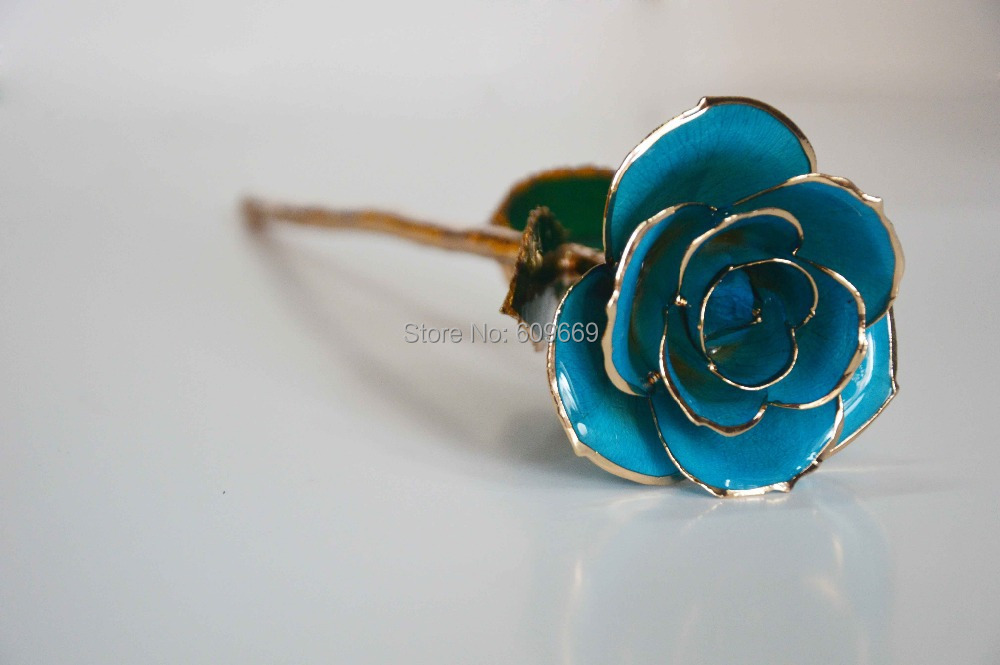 2015 New Real Rose With Gift Box 24k Gold Dipped Plated Trimmed Gold Rose Blue Flower OEM Wholesale(China (Mainland))
