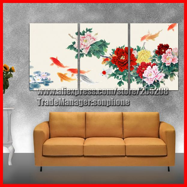 Framed 3 Panel Large Peony Painting Picture 3 Part Wall Art Chinese Feng Shui Home Decor XD01768(Hong Kong)