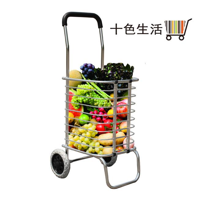 Ten-color life aluminum folding cart portable shopping cart, lightweight hand car supermarket trolleys(China (Mainland))