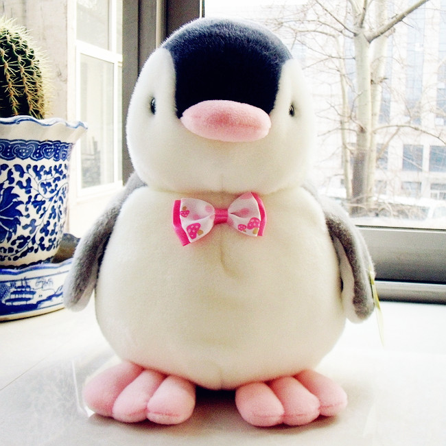 28cm High Quality Penguin Plush Toys With Bowtie Soft Toys Stuffed Animals Toys For Kids Free Shipping(China (Mainland))