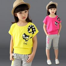 Free Shipping 2016 New summer clothes set children fashion princess shirts and trousers 2 pieces baby kids short set 110-170(China (Mainland))