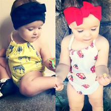 2016 Baby Clothing Cute Newborn Baby Girls Halter Bodysuit Baby Jumpsuit Backless Sunsuit Outfits(China (Mainland))