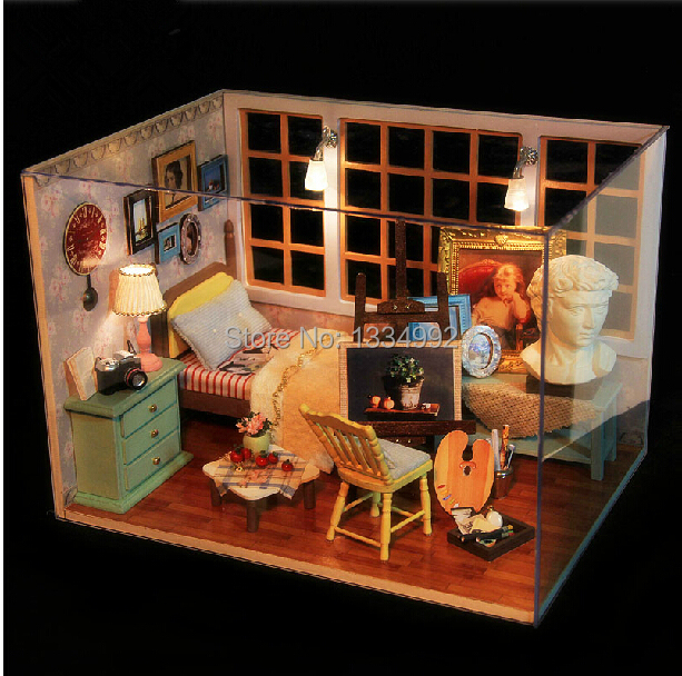 Dollhouse Miniature Diy Kit Cover Wooden Model Building
