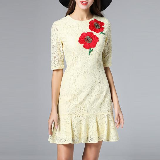 XL!Top Quality New Casual Summer Dress 2016 Women Hand Paiting Floral Print 3/4 Sleeve Casual Asymmetrical Loose Dress Pocket