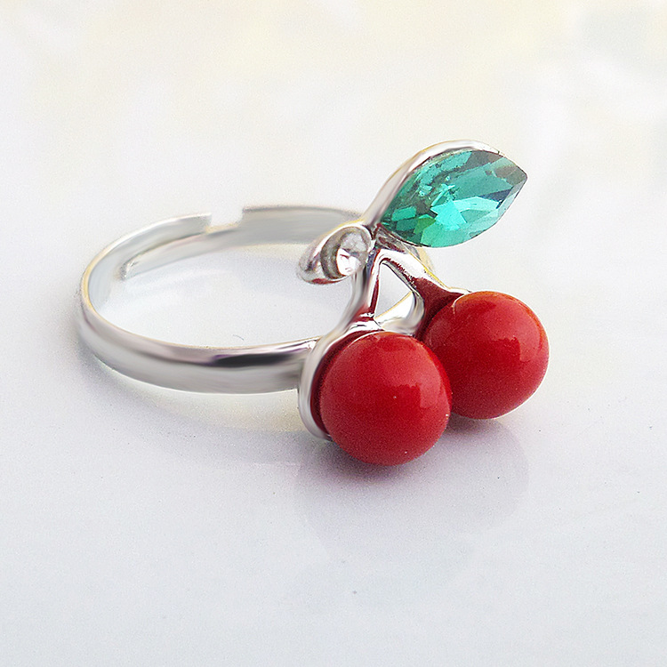 Jewelry wholesale cherry ring fruit hand decorated lovely delicate ring(China (Mainland))