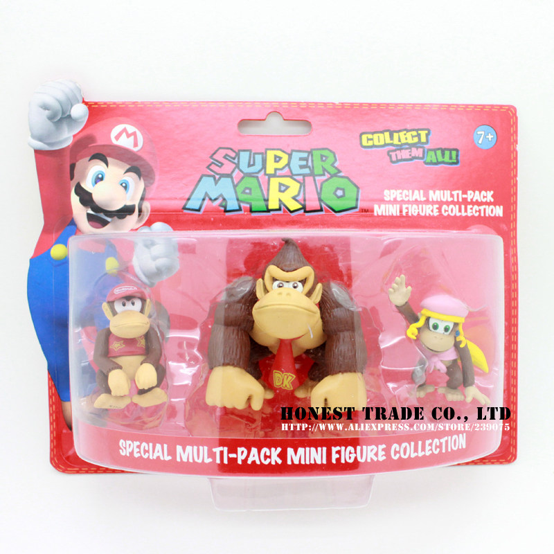 2014 New 3pcs/1set Cute Nintendo Super Mario Bros Action Figures Toys Doll Decoration 2.5' donkey kong(China (Mainland))