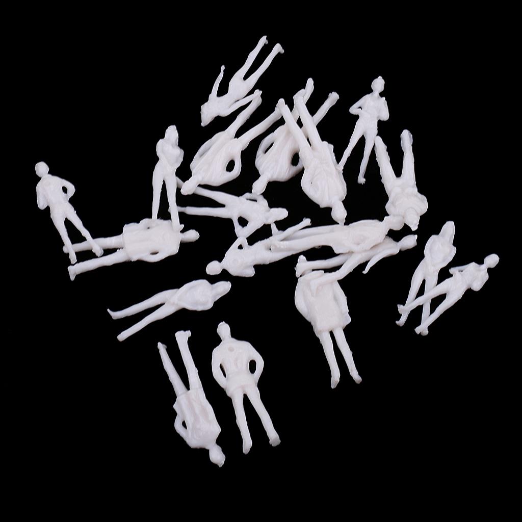 20 Pieces 1/75 Scale Unpainted Model People Architectural Figure Miniature Model Human Plastic Scene Simulation