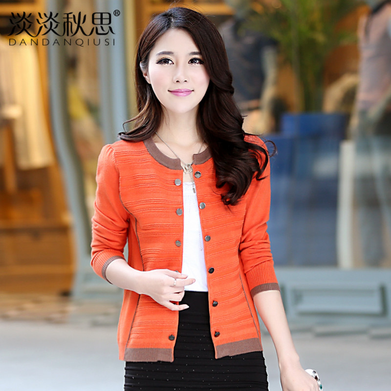 2014 spring o-neck long-sleeve double breasted women's knitted wool cardigan coat - Caiba fashion store
