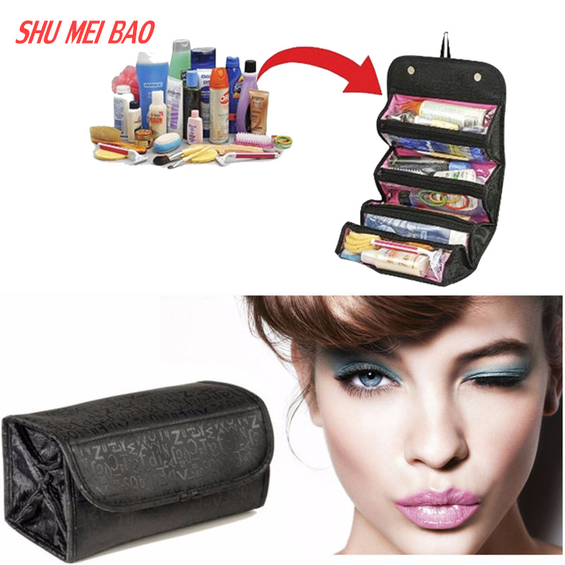 2016 Multifunctional Portable Women Makeup Bag Storage Organizer Box Beauty Case Travel Pouch roll n go Comestic Bags(China (Mainland))