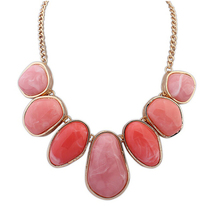 Brand designer Exaggerated punk Geometry big gem bib necklace Colorful Stone Pendant Statement jewelry for women