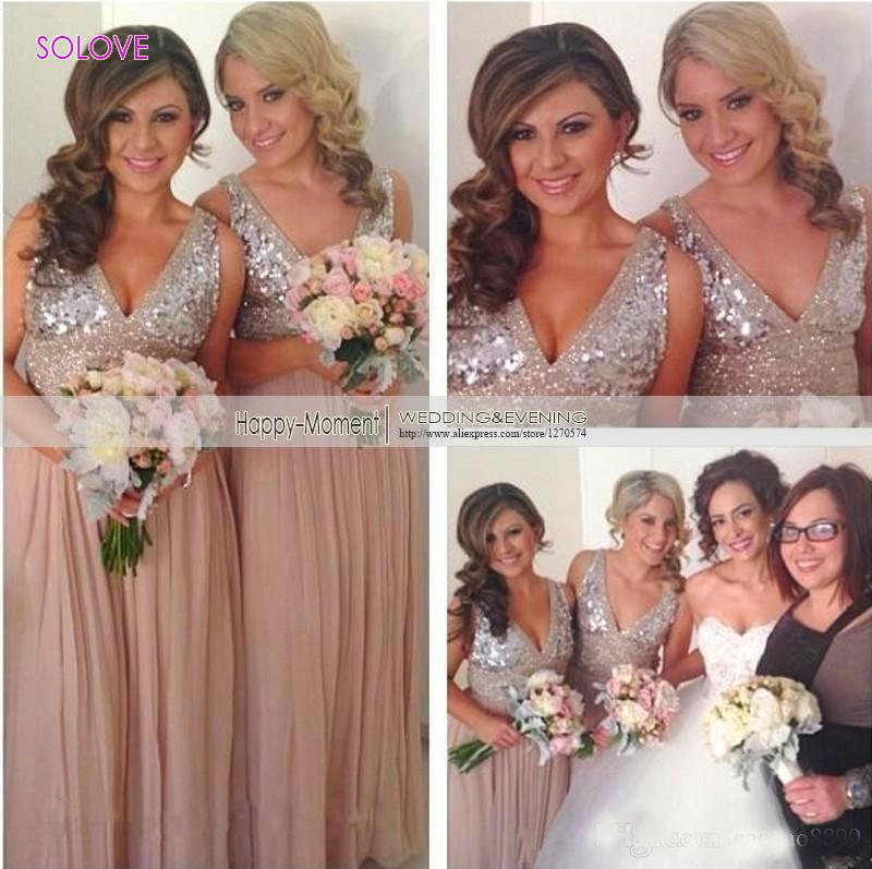 Cap рукавом v-нек-бич платье невесты из бисера кристалл блесток платье невесты свадебные платья vestido дама де честь ( SL-B54 )