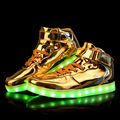 Brand Light Up Shoes For Men And Women Adults Lovers Luminous High heeled LED Gold Silver