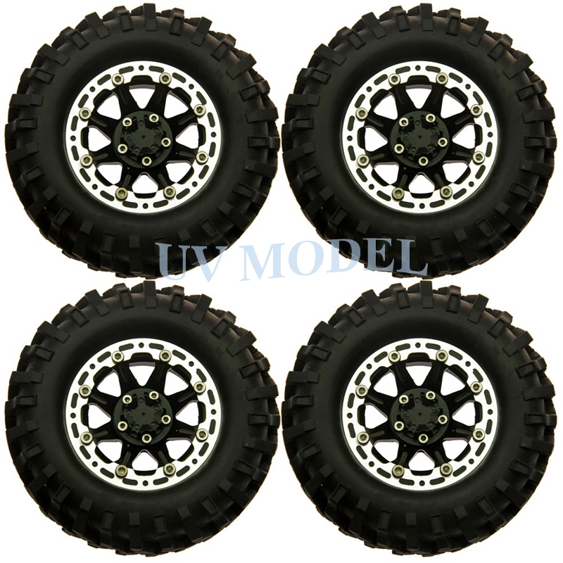 4 Beadlock Rock 1.9inch Wheels Rim & 96mm Rubber Tires Tyre for RC 1/10 Scale Crawler Free Shipping #6(China (Mainland))