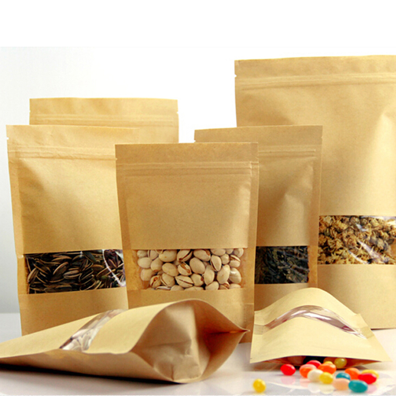 High Quality 50pcs/lot Resealable Stand up Kraft Bags Ziplock Gift Bag Retail Packaging For Chocolate Candy Paper Clear Window(China (Mainland))
