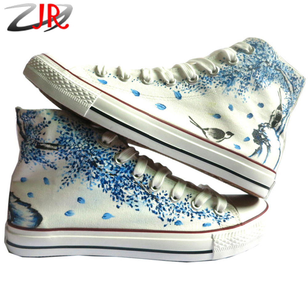 YJR Breathable High Top Flowers Birds Hand-painted Unisex Canvas Shoes China Style Graffiti Shoes for Boys and Girls Flat Shoe(China (Mainland))