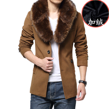 Luxury Fur Collar Woolen Trench Coat Men Winter Casual Single Breasted Wool Pea Coat Outwear Slim Fit Manteau Homme Black friday(China (Mainland))