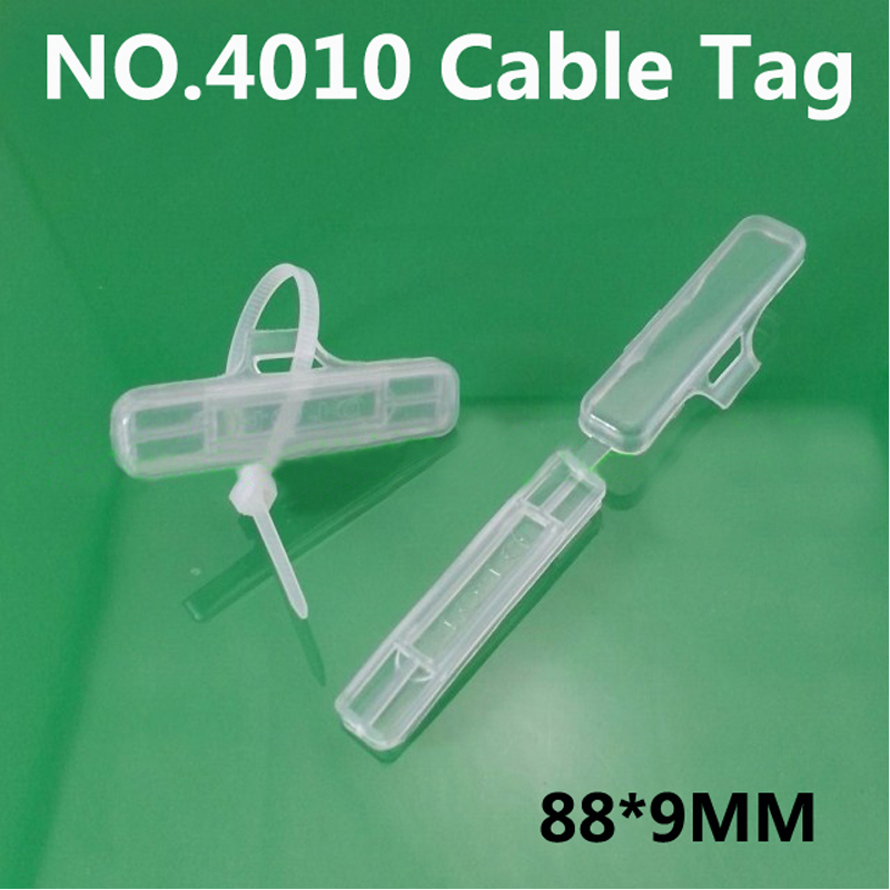 500pcs/lot 4010 Waterproof transparent cable tag Cable ties Wire signage Cable signage Logo box(China (Mainland))