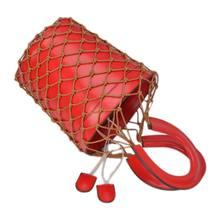 Популярные в сетку сумки шикарные Для женщин корзина сумка в форме бочонка леди Винтаж Сумки композиционная кожа Сумка (красный)(China)
