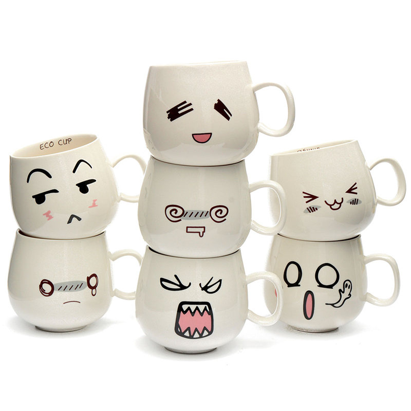 Lovely Design 300ml 7 Kinds Lovely Cute White Pottery Ceramic Cup Cute Face Mug Tea Coffee Milk Cup 7x8x9cm(China (Mainland))