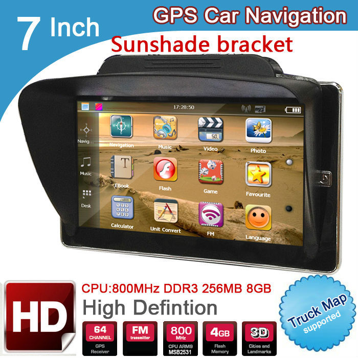 New 7 inch HD Car GPS Navigation CPU 800MHZ FM/8GB/DDR3 256M 2014 Maps Europe/USA+Canada TRUCK with Sunshade bracket(China (Mainland))