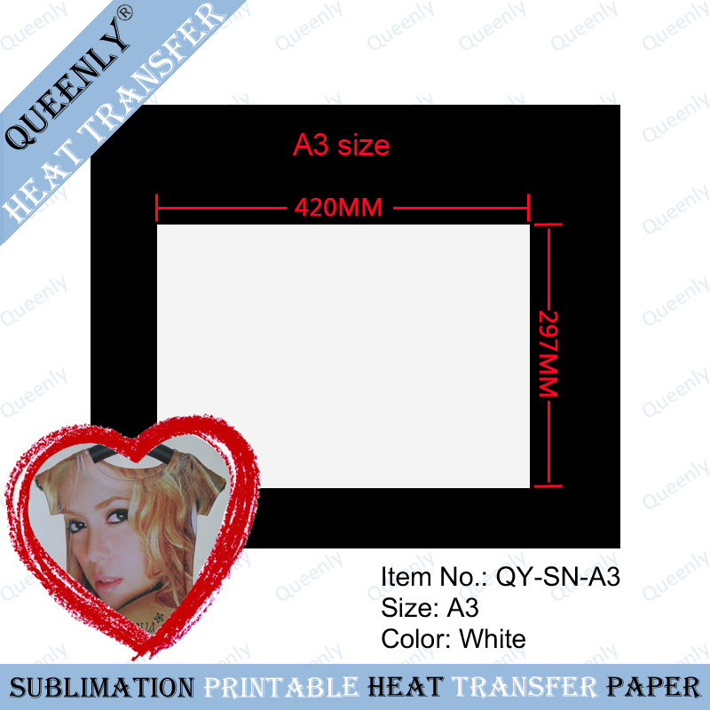 A3 Sublimation heat transfer paper 100gsm sublimation transfers paper 1000 sheets per pack(China (Mainland))