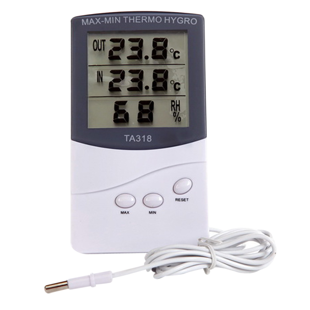 Smart Household LCD Digital Indoor Outdoor Thermometer Hygrometer MAX-MIN THERMO HYGRO Meter With 1.5M Sensor Cable FreeShipping(China (Mainland))