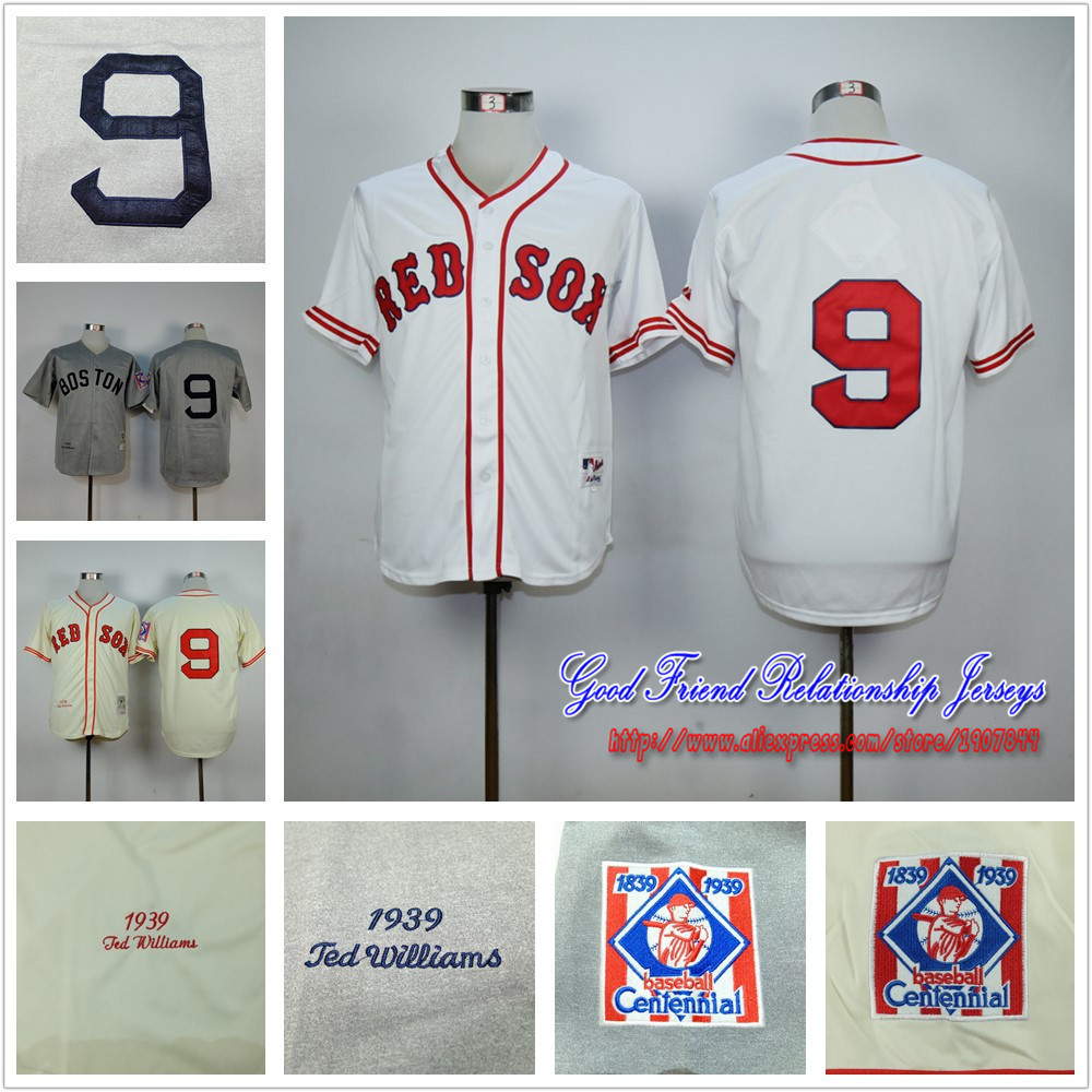 Boston Red Sox #9 Ted Williams Jersey WHITE GREY CREAM THROWBACK Stitched Authentic Cool Base Baseball Jersey<br><br>Aliexpress