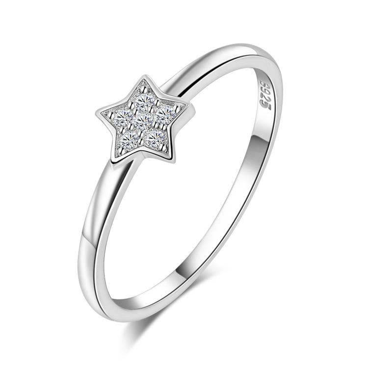 S925 silver ring 3a zirconium diamond finger ring star women s pinky ring