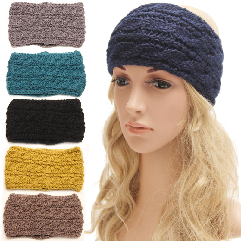 Здесь можно купить  Wholesale Women Headband Cable Braided Headband Wide Knit Hair Band Winter Ear Warmer Choose your color Women Hair Accessories  Одежда и аксессуары