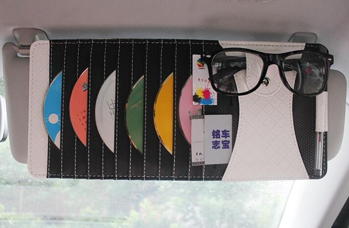 Leather Auto sunshade prevent dazzle car sun shade window visor mirror shading eye car solar protection car-styling