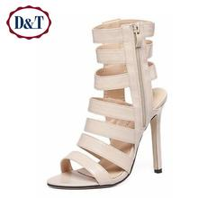 {D&T} Rome Style Gladiator Women Sandals Sexy Peep Toe Lady's High Heel Sandals Narrow Band Summer Shoes Woman(China (Mainland))