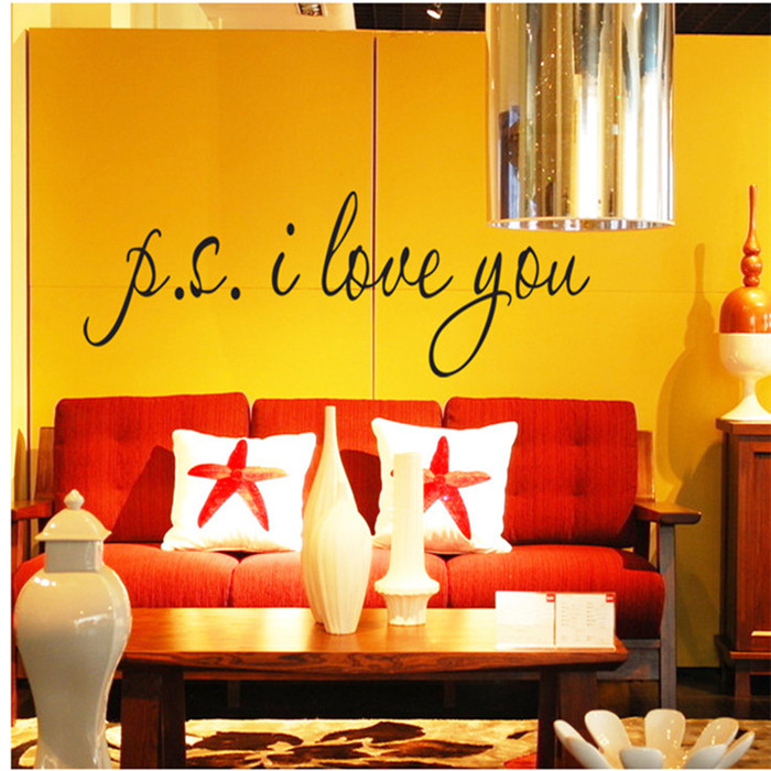 Buy Ps I Love You English Waterproof Vinyl Wall Stickers Home Decor Wallpaper