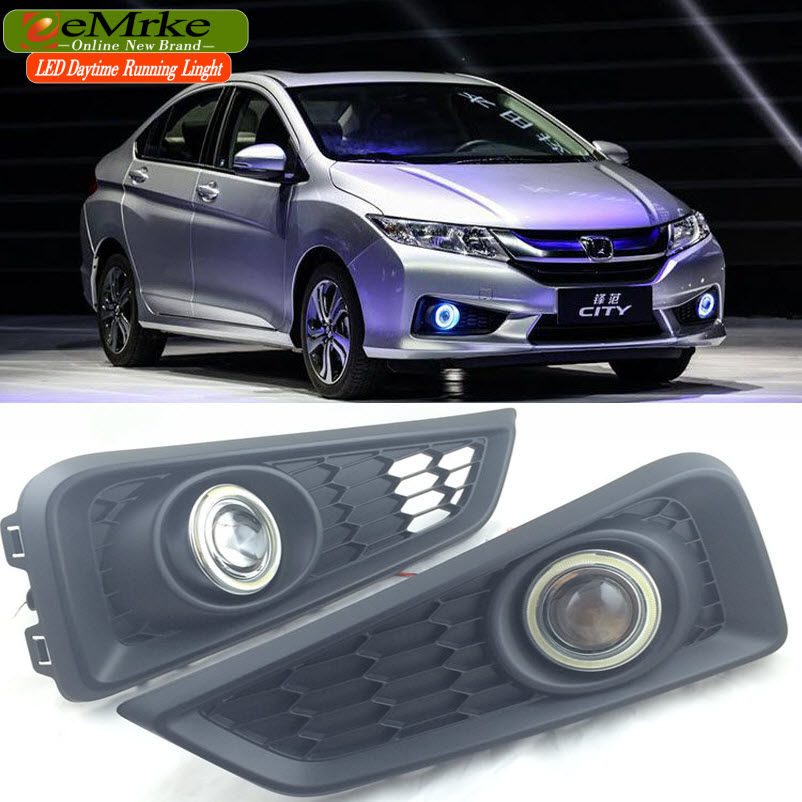 eeMrke For Honda City GM6 / race / Ballade COB Angel Eyes DRL Fog Lamp Lights Daytime Running Lights with H11 55W Halogen Bulbs(China (Mainland))