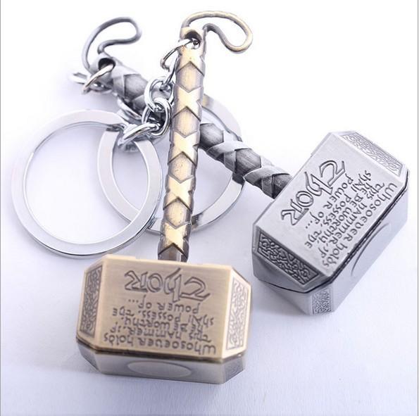 Free Shipping 1PCS Thor Hammer Keychain The Avengers Mjolnir Figure Pendant Metal Key Chains Movie Keychains Accesssory No.628(China (Mainland))