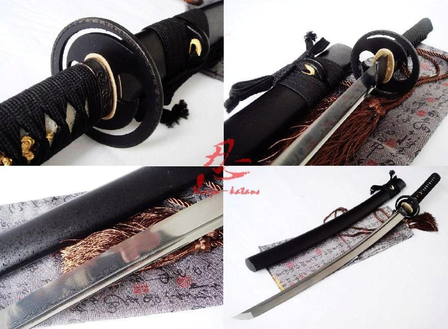 hand forged folded steel japanese samurai katana sword cyclone tsuba sharpened(China (Mainland))