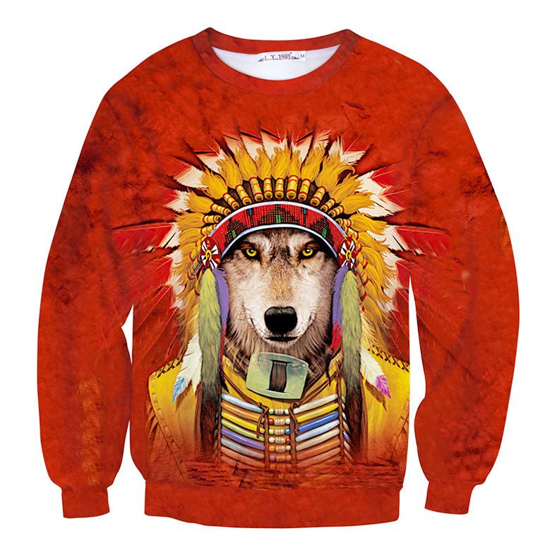 Era Dyehouse new tie dye funny dog cosplay American Indian 3D animal sweatshirt cool red hoody for men women sweat tide clothes(Hong Kong)